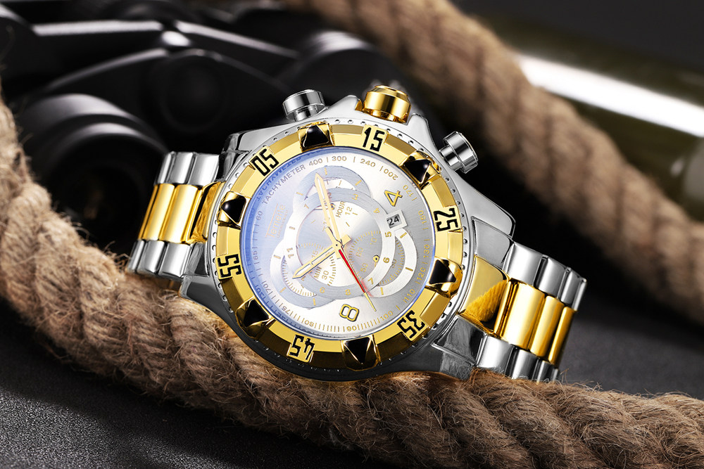 19 Top Brand Luxury Mens Oversize Watch Gold Business Steel Quartz Clock Waterproof Sport Military Chronograph Male Wristwatch 30