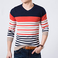 2017 New Arrive Casual Stripe Sweater Men Pullovers Brand  Winter Knitting Long Sleeve V-Neck Slim Knitwear Sweaters Size M-XXL