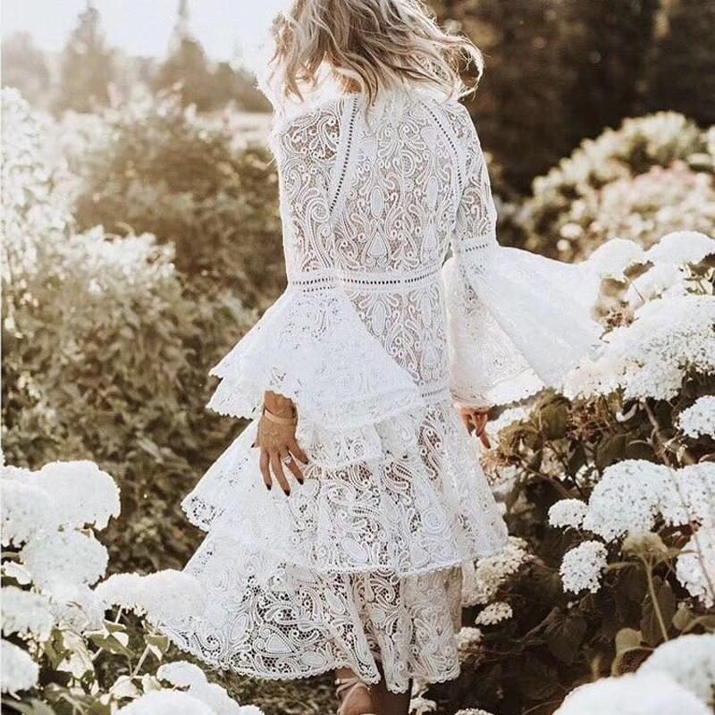Femmes Bohême Lady Flare Blanc Haute 2018 1 Vacances ever Qualité Broderie Manches Et Robe Dentelle Longue Mode De Yd Vocation xT8wqgUA