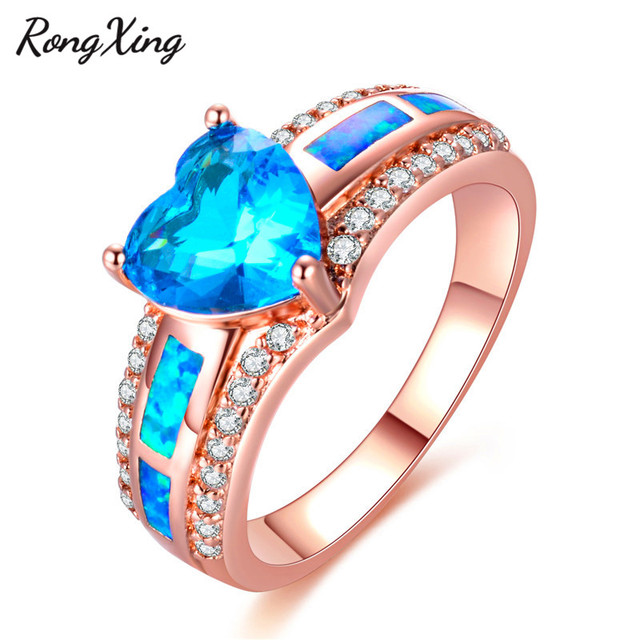 fire wedding ring filled gold lake for women rongxing blue zircon heart december opal rose birthstone rings item