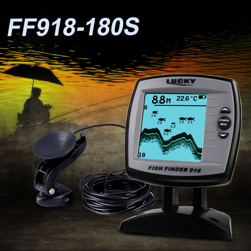 Lucky Wholesales Fishing Sonar FF918-180S wired Echo fish finder Sounder Lure Findfish Boat Alarm sensor Fish Finder 45 degrees lucky 2 in 1 wired 100m and 40m wireless boat fish finder fishing sensor sonar transducer mode built in water temperature sensor