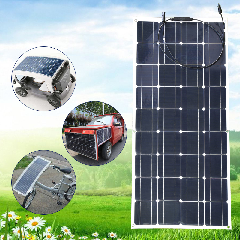 <font><b>12V</b></font> <font><b>100W</b></font> <font><b>Solar</b></font> <font><b>Panel</b></font> Monocrystalline Semi Flexible <font><b>Solar</b></font> <font><b>Panels</b></font> Cell Plate Module Kit Efficiency Charger for RV Boat Battery image