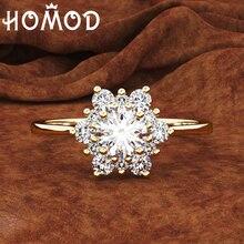 HOMOD 2019 Fashion Snowflake Ring Gold Color Crystal Zircon Stone Finger Vintage For Women Wedding Rings Femme