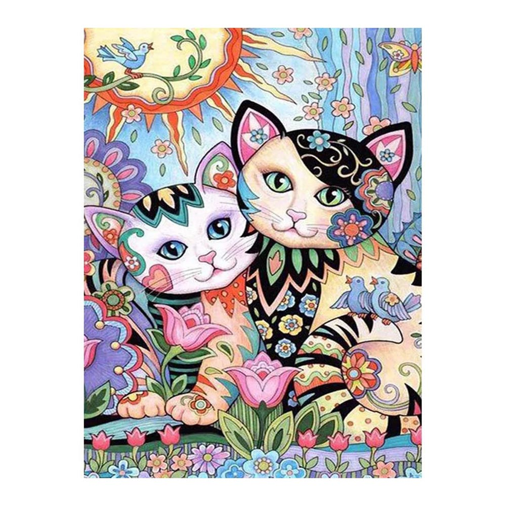 cartoon cat Diamond Painting Full Round animal Hand painted children New DIY Sticking Drill Cross Embroidery 5D Home Decoration in Diamond Painting Cross Stitch from Home Garden