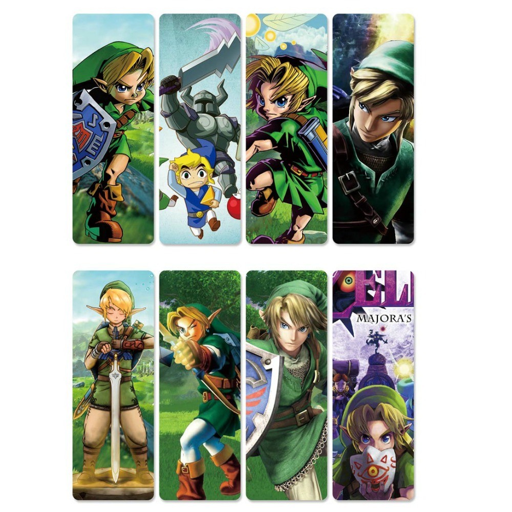 8pcs The Legend Of Zelda Anime Bookmarks Waterproof Transparent PVC Plastic Bookmark Beautiful Book Marks Gift
