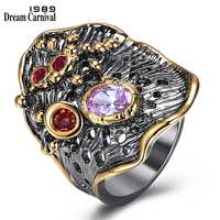 DreamCarnival 1989 New Gothic Big Wide Rings for Women Irregular Shape Water Lily Leaf Look Red Purple CZ Drop Shipping WA11610