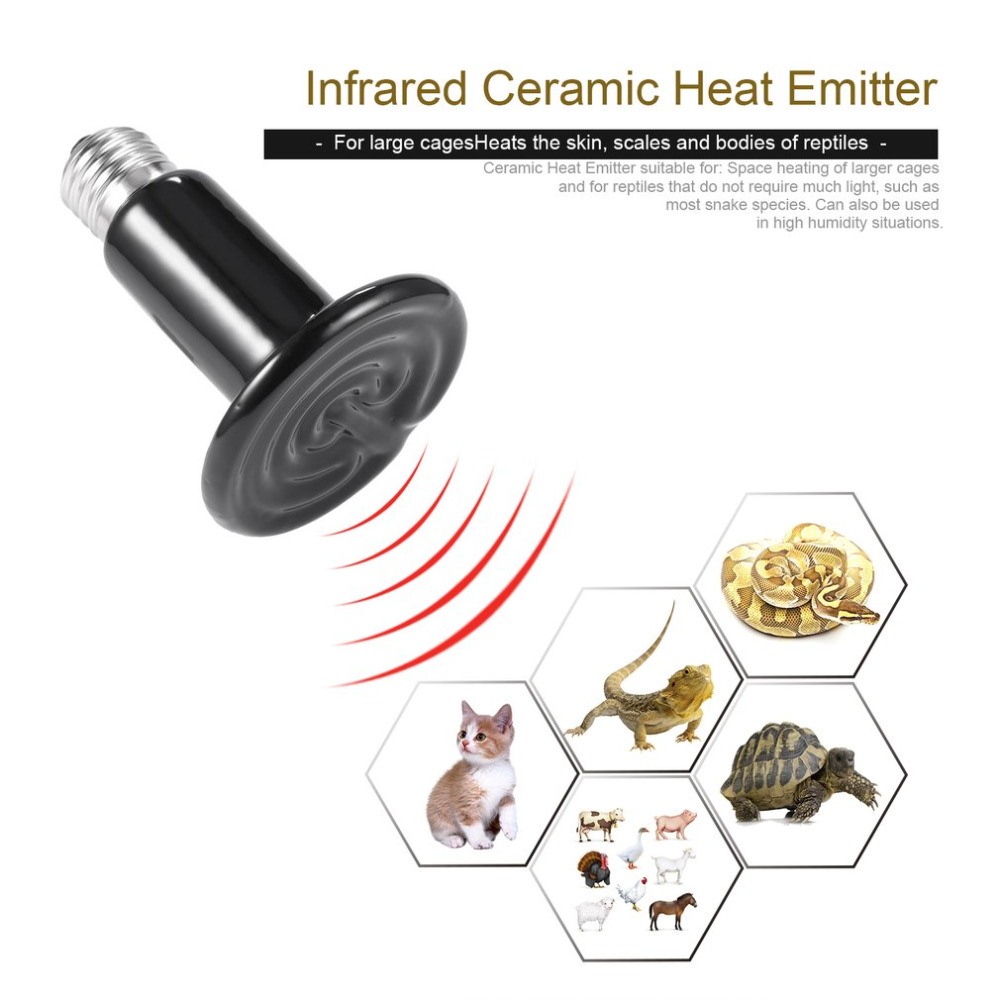 Infrared Ceramic Heat Emitter Lamp Bulb Pet Appliance Heat Lamp For Reptile Chicken Incubator 220-230V Ceramic + Alloy Black pet light infrared ceramic heat emitter lamp bulb for reptile amphibian warmer glow brooder 100w new