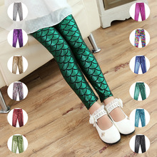 2018 new girls leggings trousers yoga pants digital mermaid printing high waist stretch sporting trousers autumn winter