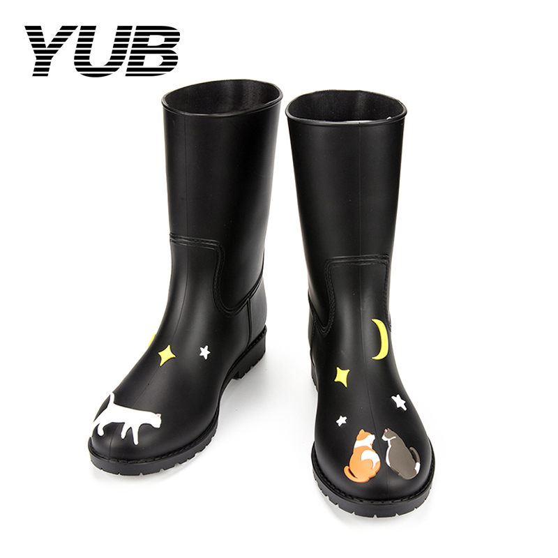 YUB Brand Women's Fashion Rain Boots with Graffiti Mid-Calf Rubber Boots for Girls Winter Printed Snow Boots yub brand waterproof rain boots for women with solid color slip on winter mid calf shoes for girls