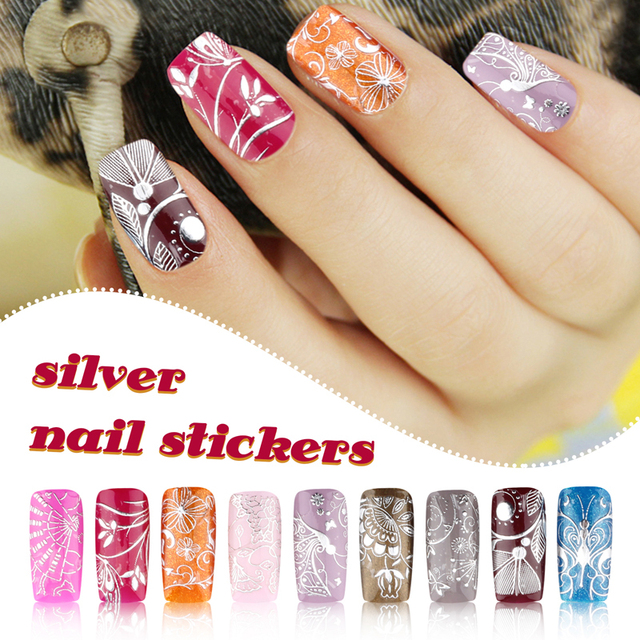 Silver 3D Nail Art Stickers Decals 1 sheet Stylish Metallic Mixed ...