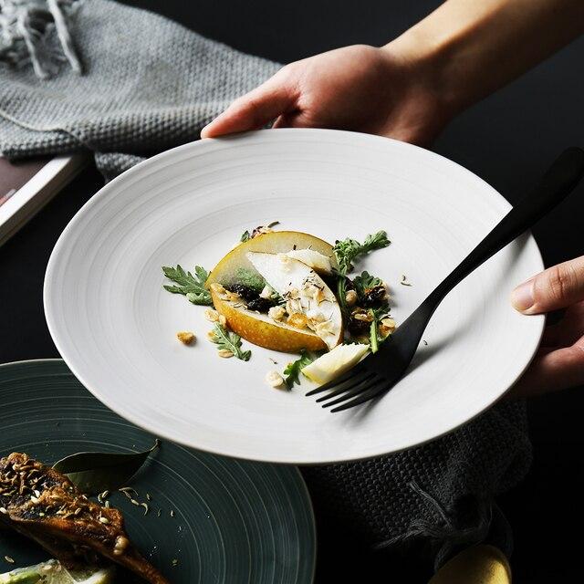 Solido bianco/verde cibo piatti piatti piatti piani per la cucina ...