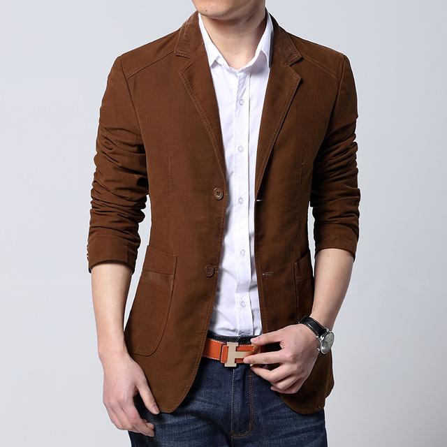 2017 Recién Llegado de Lujo Hombres Blazer Primavera Moda Marca de Calidad de Algodón Slim Fit Hombres Traje Terno masculino Hombres Blazer masculino