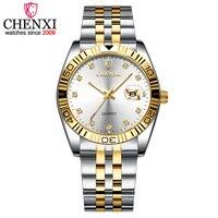 CHENXI ЖЕНСКИЕ НАРЯДНЫЕ часы золотые наручные часы из нержавеющей стали женские Стразы Модные кварцевые часы Relogio Feminino