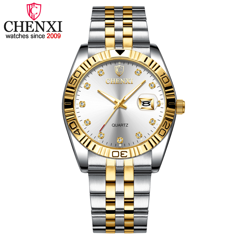 CHENXI Women Dress Watch Golden Stainless Steel Wristwatches Ladies Rhinestone Fashion Quartz Clock Watches Relogio Feminino