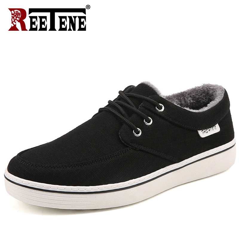 REETENE Winter Canvas Shoes Men Casual Shoes Men Fashion Fur Mens Shoes Casual Lace Up Zapatillas Hombre Plush Casual Sneakers casual casual инсайд