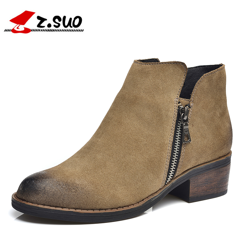 Z.SUO British Style Cow Suede Upper Rubber Outsole Women's Ankle Boots Autumn Winter Zipper Decorated Female Martin Boots ZS1011 martin new winter with thick british style short canister female fall side zipper boots