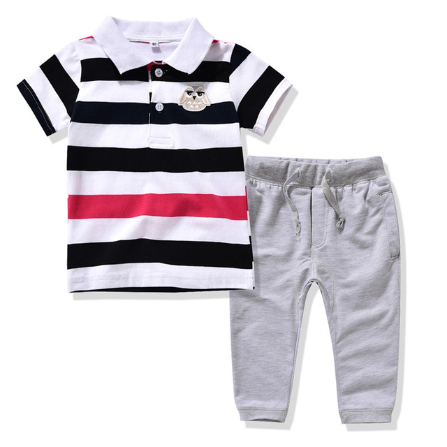 21fd49c42d @Ajia 2Color kids boys summer clothing set boys striped polo T-shirt + pant  suit Boys cotton British style clothes Boys fashion