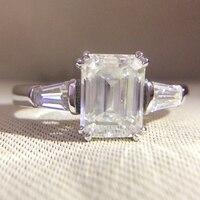 Мм 14 К белого золота изумруд 4 карат 8x10 мм DF Moissanite багет обручение Halo Кольцо лаборатория Diamond Solitaire Свадебные для женщин