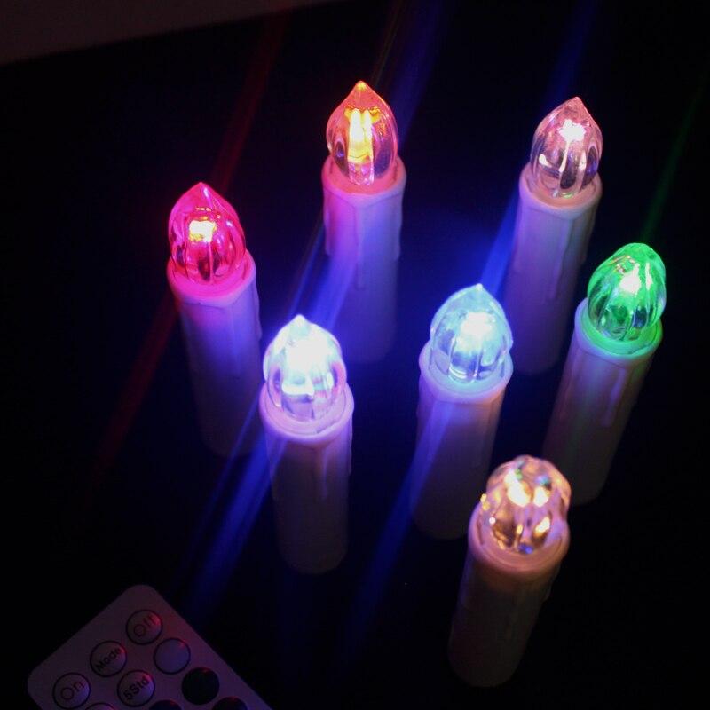 70 piezas Multicolor electrónico parpadeante LED vela de Navidad luz hogar fiesta decoración con Control remoto - 6