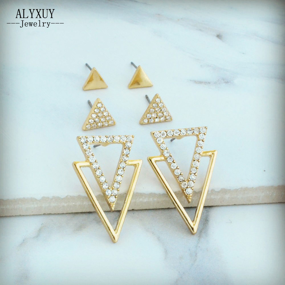 New fashion jewelry stone triangle stud set gift for women girl E3306