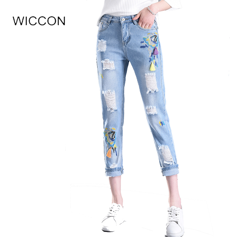 Spring Casual Women jeans skinny Pencil Jeans High Waist Floral Embroidery Fashion Ripped Ankle-Length Women Hole Denim Pants new summer vintage women ripped hole jeans high waist floral embroidery loose fashion ankle length women denim jeans harem pants