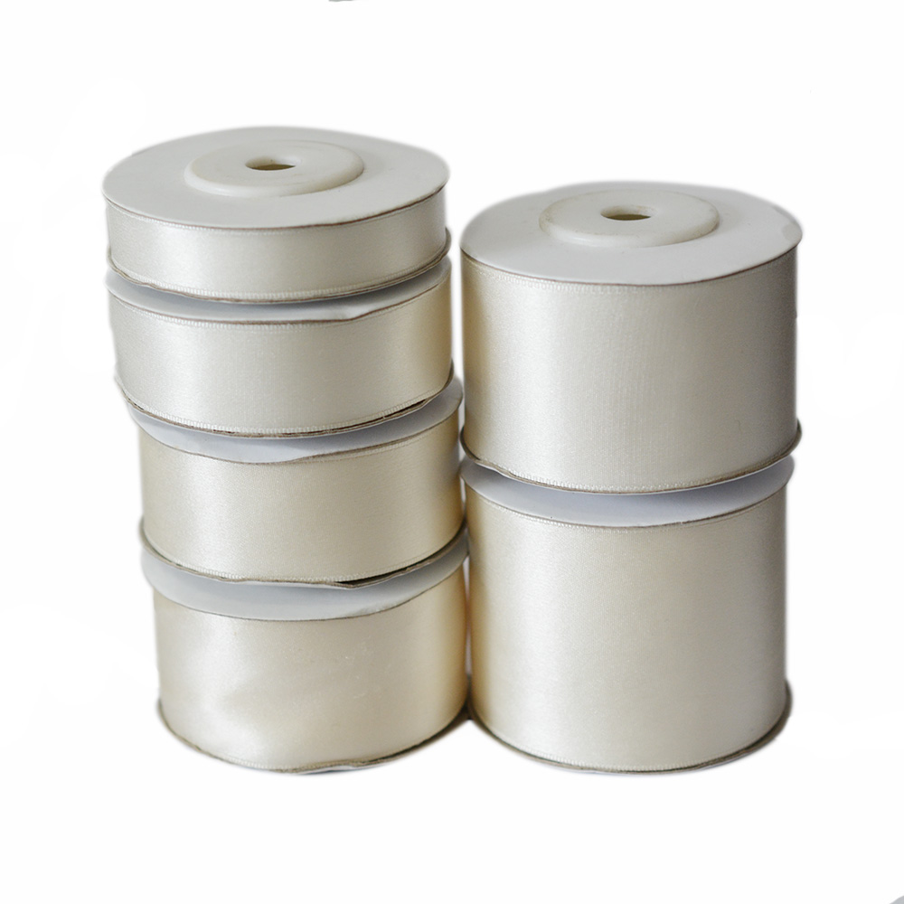 202 Natural White, 100% Echtes Reine Seidenband für Handstickerei, Double Face Satin Silk Tape 10-50mm, 10m / Rolle