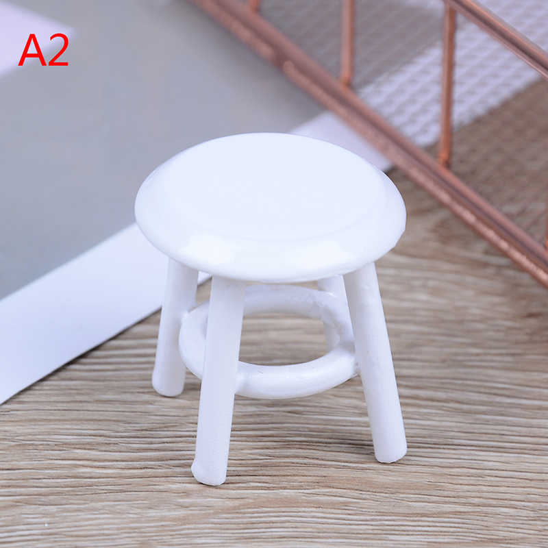 1Pc 1//12 Dollhouse miniature wooden stool chair furniture accessories deODFS