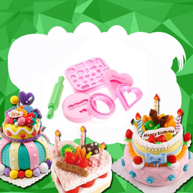 Online Shop 8pcs Polymer Sand Mold Birthday Cake Maker Tool Set Creative DIY Play Dough Resin Plasticine Mud Kids Educational Toy Gift