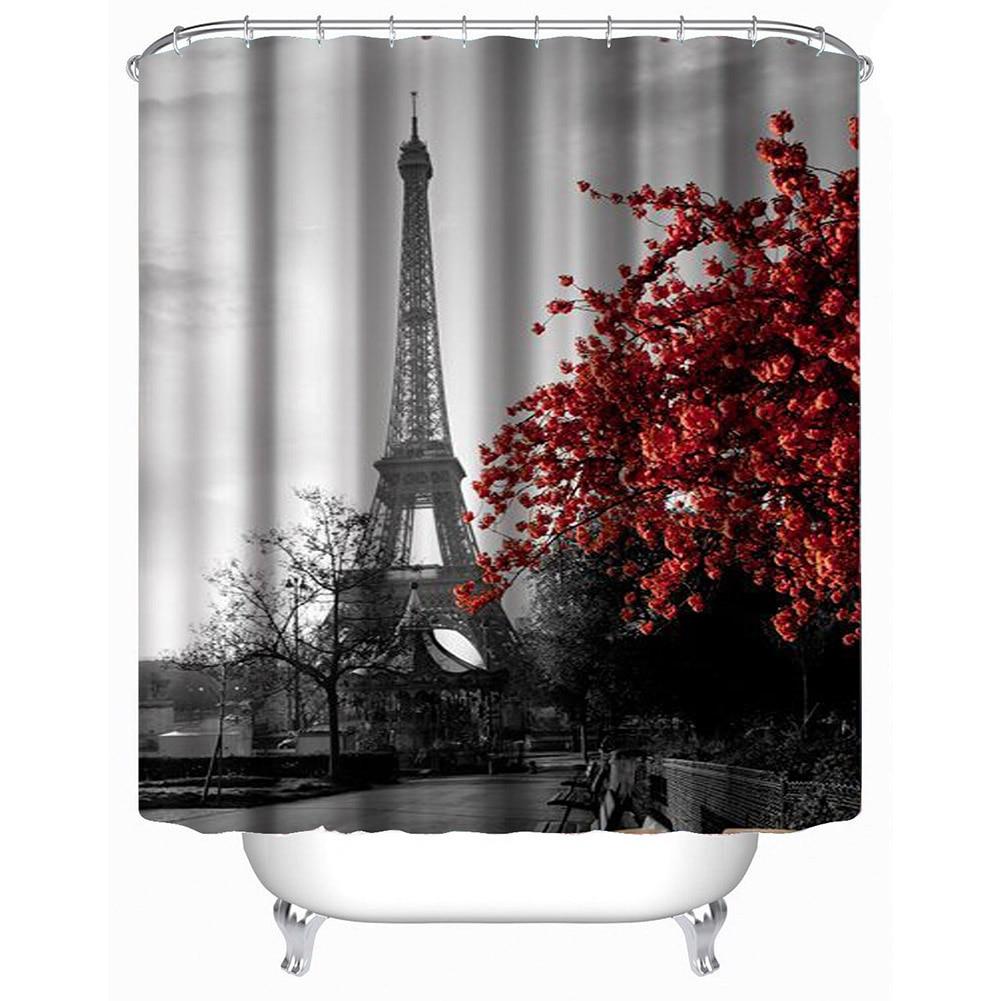 Eiffel tower bathroom decor - Eiffel Tower Red Maple Painting Art Shower Curtain Waterproof Polyester Bathroom Curtain Festive Decoration Home Living Decor