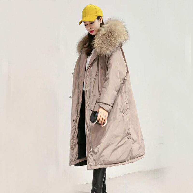 2019 New Winter Jacket Women White Duck Down Jacket Long Down Parkas Loose Female Coat Large Real Raccoon Fur Hooded Warm Jacket