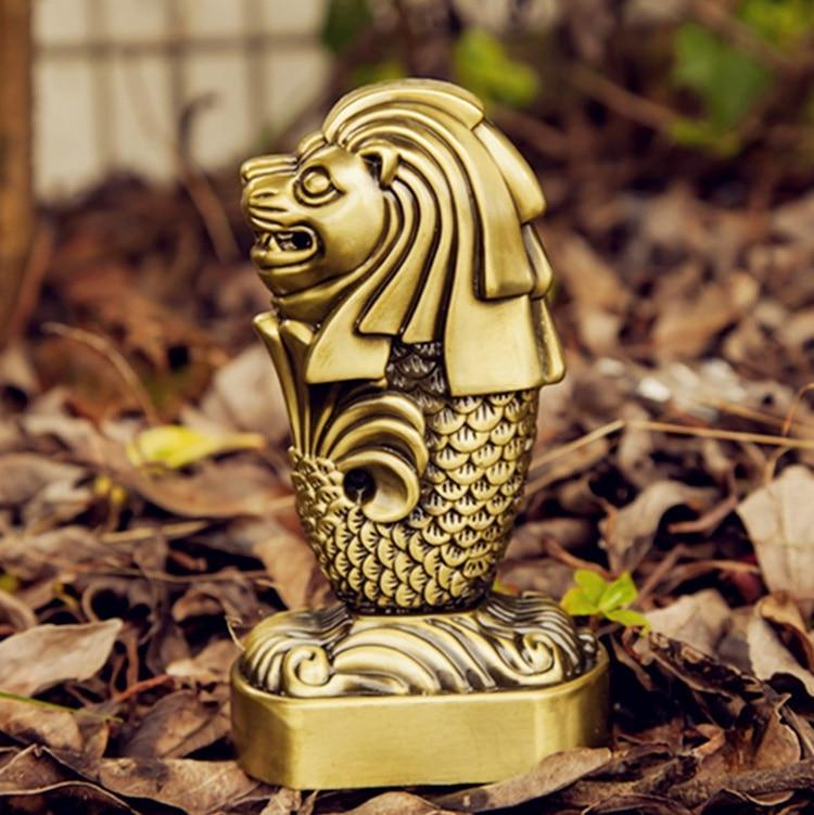 Singapore Merlion Sculpture Model Of Tourist Souvenirs Of Famous Landmarks Alloy Decoration Photography Props Statuette Figures Home Decor