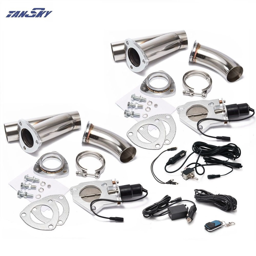 2xCut Out Remote Control/Manual Switch SS Y Headers Electric Exhaust Cutout Muffler Pipe Kit