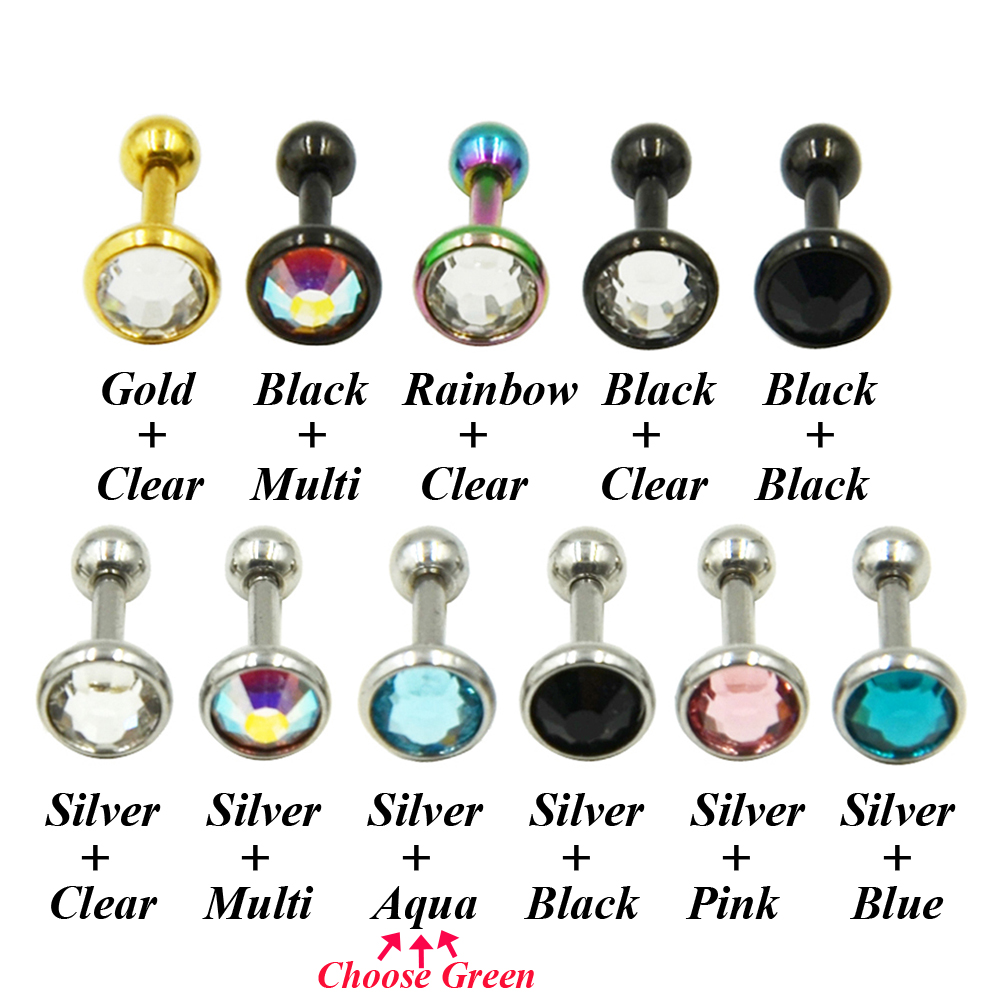 Online Shop Stainless Steel Anodized Ear Cartilage Stud Earring Tragus Cz  Gem Body Piercing Helix Jewelry  Aliexpress Mobile