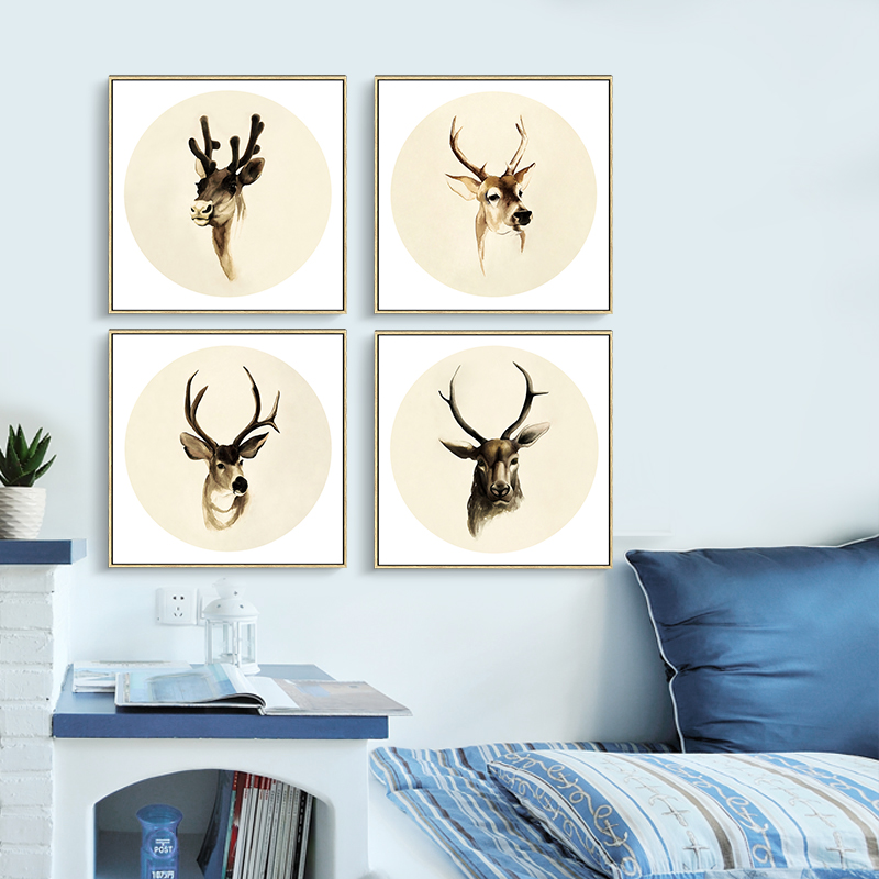 Deer Head Canvas Painting European Style Oil Paint Home Decor Antlers  Picture Lovely Gift For Children No Frame Prints Poster In Painting U0026  Calligraphy From ...