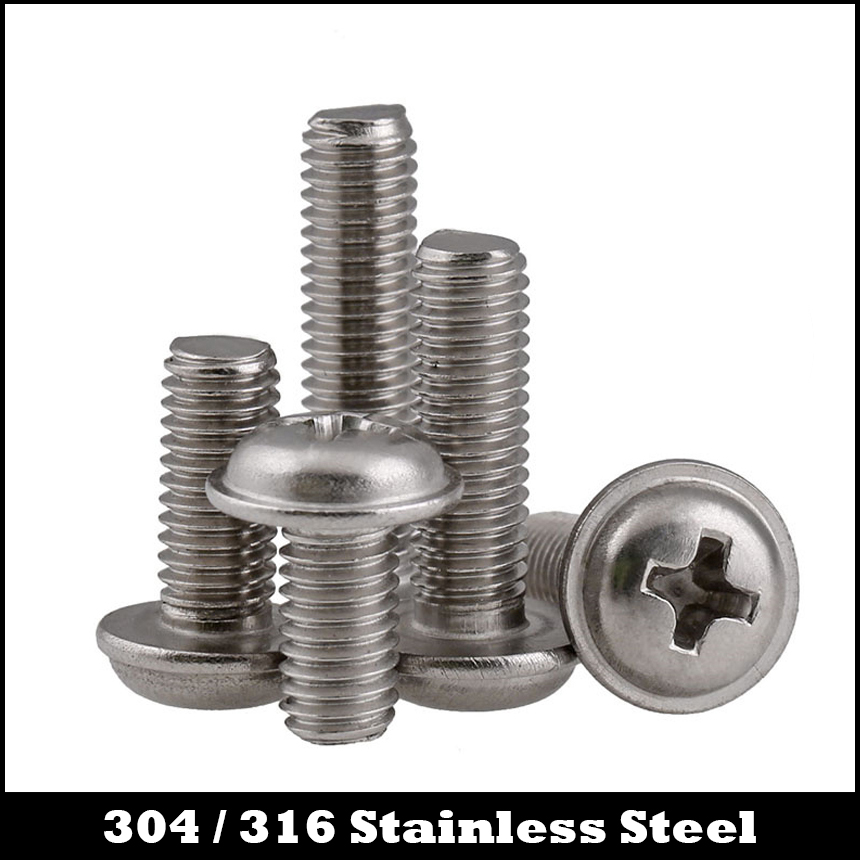 M4*6 M4x6 M4*8 M4x8 M4*10 M4x10 M4*12 M4x12 304 316 Stainless Steel DIN967 Cross Philips Round Pan Head Screw With Washer Collar 4 6