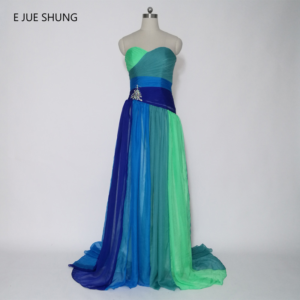 E JUE SHUNG Colorful Chiffon Cheap Long Evening Dresses Multi Color Crystal Pleat Lace Up Sweetheart Prom Dresses