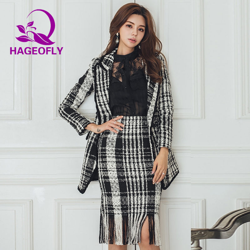 2019 New Fashion Korean Skirt Suits Women Black Pink Striped Long Sleeve Blazer Knee Tassel Skirt Blazers Two Pieces Women Suits