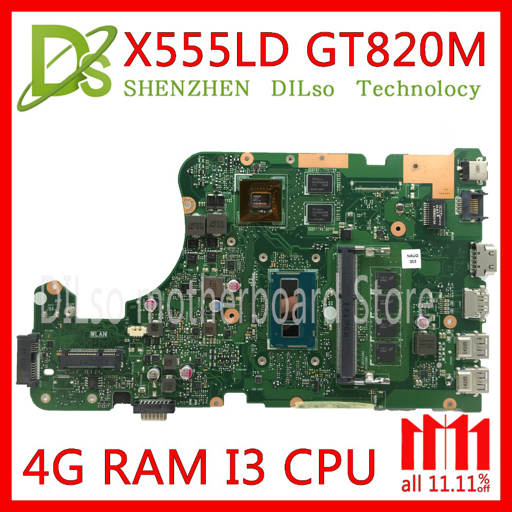 KEFU X555LD Laptop motherboard for ASUS X555LD X555LP X555LA X555L X555 Test I3 CPU mainboard 4G RAM original motherboard
