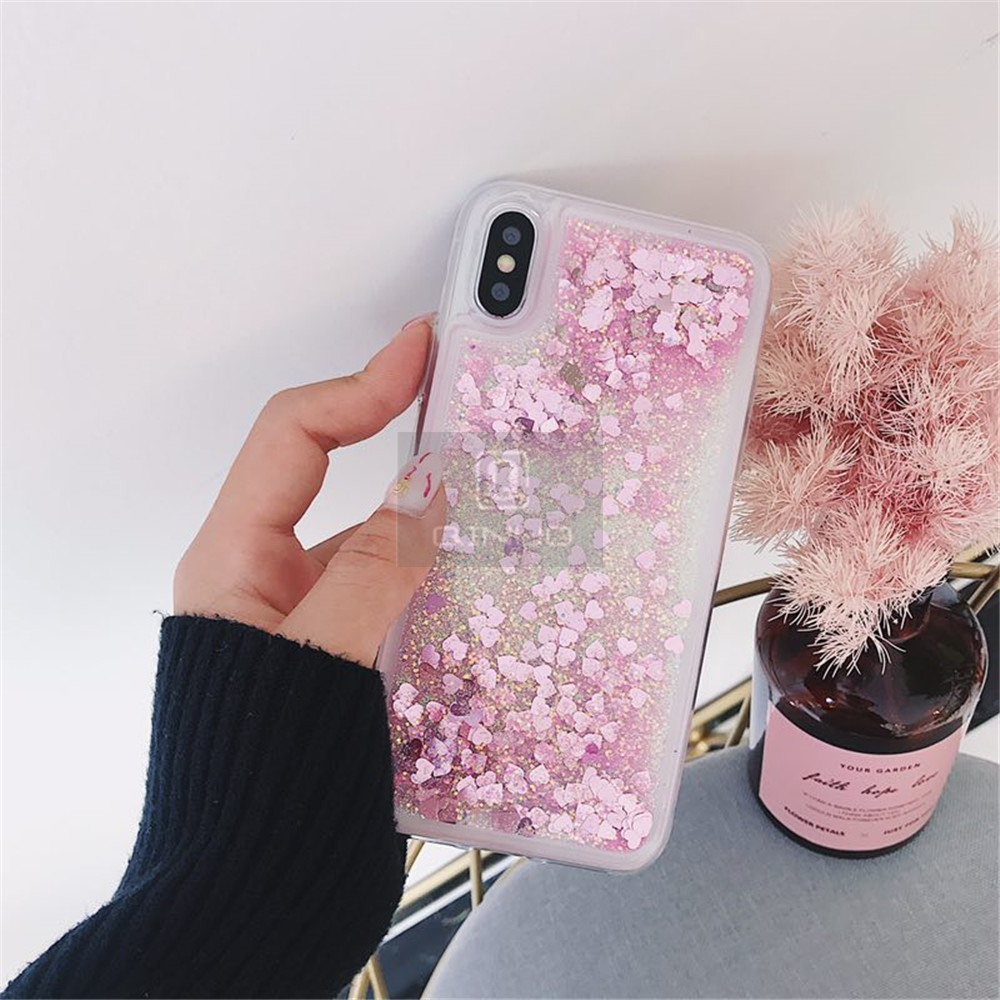 HTB1CFHyXOzxK1RkSnaVq6xn9VXaR - QINUO Love Heart Glitter Phone Case For iphone 11 Pro Max X XR XS MAX 6S 6 7 8 5 5S SE Liquid Quicksand Bling Sequin Cover