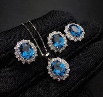 Natural blue topaz gem ring earrings Pendant Natural Gemstone Jewelry Set 925 Silver Fashion Elegant round Women wedding jewelry