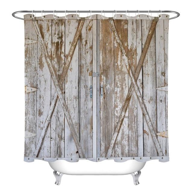 LB Rustic Vintage Wood Barn Door Panels Shower Curtain Nature Farmhouse Bathroom Waterproof Polyester Fabric For Bathtub Decor