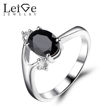 Leige Jewelry Oval Cut Black Spinel Rings for Women Sterling Silver 925 Wedding Engagement Rings Blue Gemstone Fine Jewelry