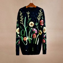 Cthink Very Good Quality Floral Embroidery Womens Sweater Fashion Loving Black Knitted Pullovers 2017 Winter Stylish Sweaters