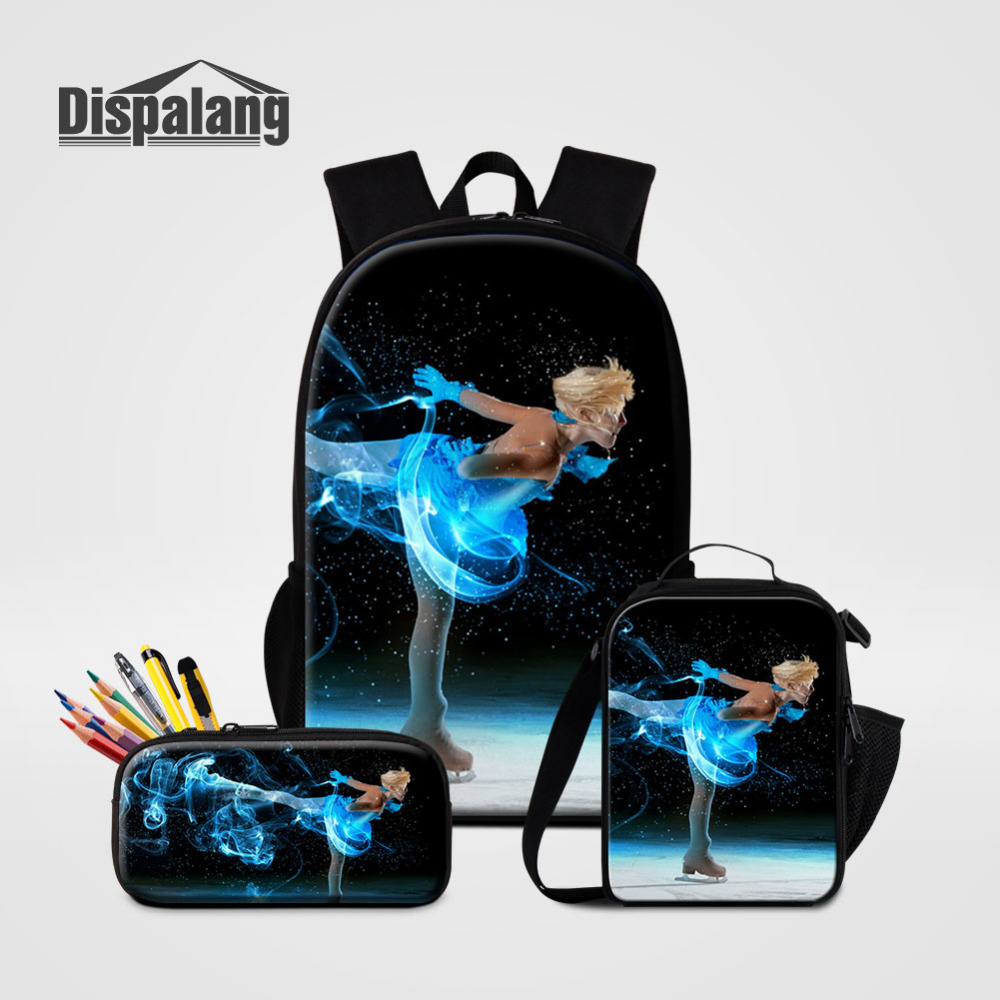 3 pieces Sets Ice Skating Women Backpack with Pencil Bag Large School Bags for Teenager Girls Lunch Cooler Bag Female Travel Bag