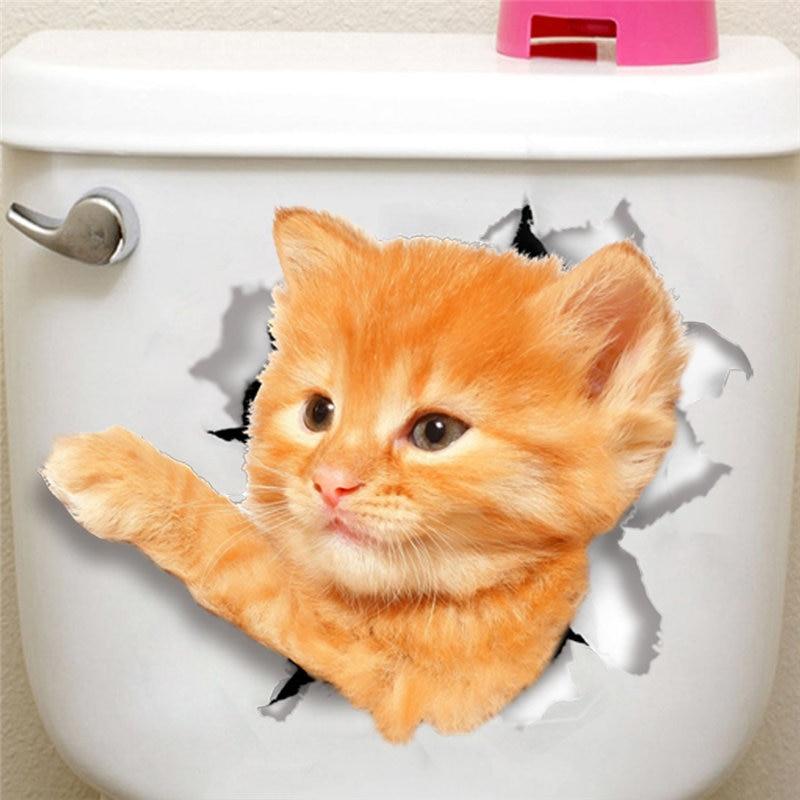 Разбили Cat Ванная комната стены Стикеры стульчак наклейка washrom напомнить холодильник украшения животных наклейки Книги по искусству Стикер...