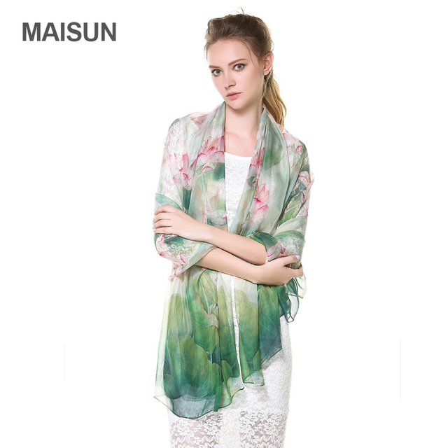 [MAISUN] Chinoiserie Lotus Flower Pattern Women Silk Scarf High Quality Silk Chiffon Scarf Fashion Spring And Autumn Shawl