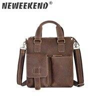 Briefcase Men's Genuine Leather Crazy Horse Vintage Handbag Crossbody Shoulder Sling Bag Office Portfolio Messenger Bag 1208
