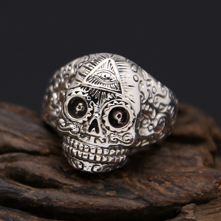 Punk Skull Silver 925 MensRing Resizable Wide Band With Vine Handmade Craft 100% Real 925 Sterling Silver Jewelry Men Cool Gifts