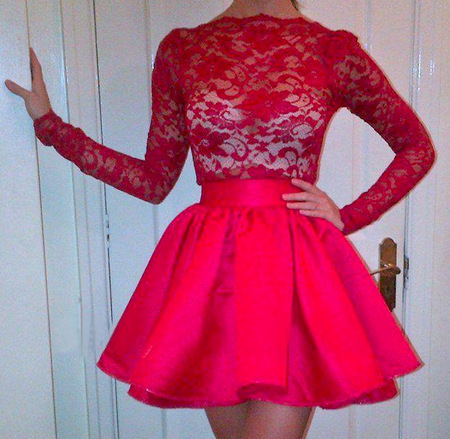 Online Get Cheap Red Lace Short Prom Dress Long Sleeve -Aliexpress ...