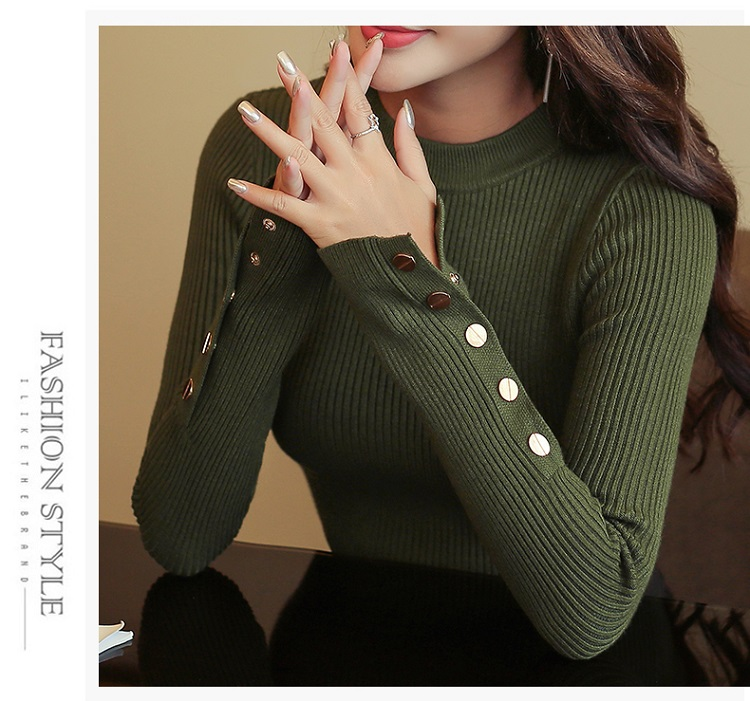 Fashion 19 New Spring Autumn Women Sweater Knitted Long Sleeve O-Neck Sexy Slim Office Lady Button Casual Sweaters Tops 10